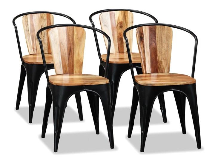 vidaXL Krzesła do jadalni, 4 szt., lite drewno akacjowe Żelazo Styl Rustykalny Metal Pomieszczenie Jadalnia