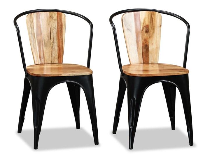 vidaXL Krzesła do jadalni, 4 szt., lite drewno akacjowe Żelazo Metal Pomieszczenie Jadalnia Styl Rustykalny