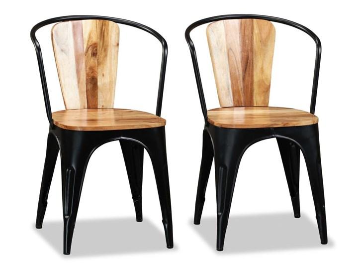 vidaXL Krzesła do jadalni, 4 szt., lite drewno akacjowe Żelazo Metal Kolor Brązowy