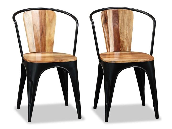 vidaXL Krzesła do jadalni, 4 szt., lite drewno akacjowe Żelazo Metal Styl Industrialny