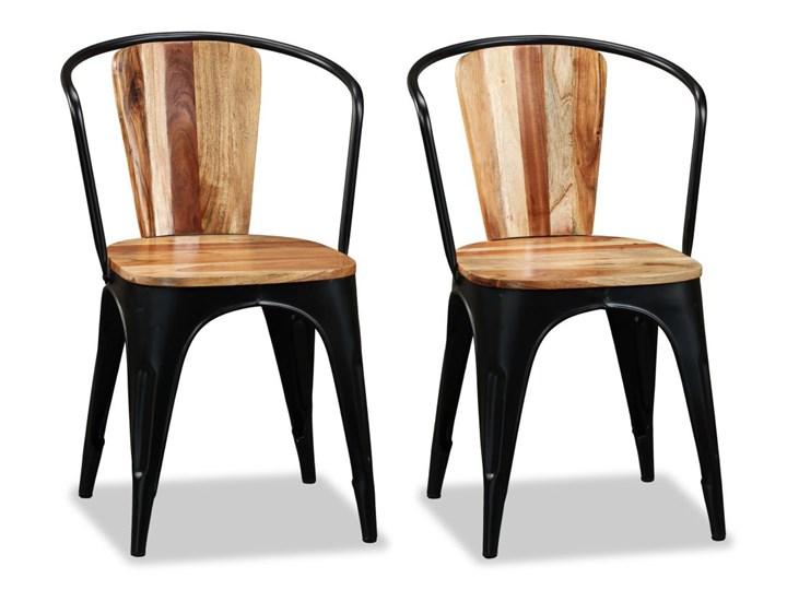 vidaXL Krzesła do jadalni, 4 szt., lite drewno akacjowe Żelazo Styl Rustykalny Metal Kategoria Krzesła kuchenne