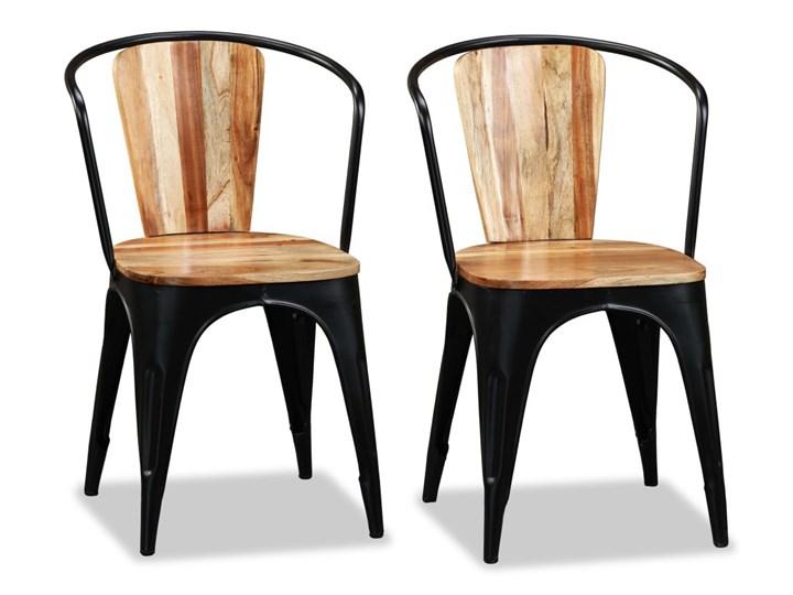 vidaXL Krzesła do jadalni, 4 szt., lite drewno akacjowe Metal Żelazo Pomieszczenie Jadalnia Kategoria Krzesła kuchenne