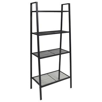 vidaXL Regał drabinowy na książki, z 4 półkami, metalowy, czarny