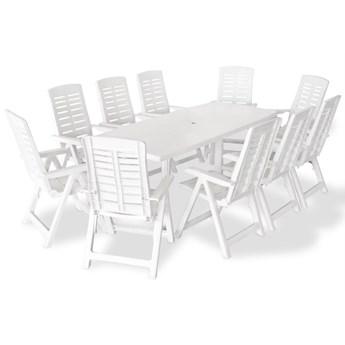 vidaXL 11-cz. zestaw mebli ogrodowych, plastik, biały