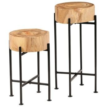 vidaXL Zestaw stolików bocznych, 2 szt., lite drewno akacjowe