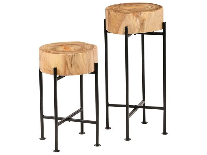 vidaXL Zestaw stolików bocznych, 2 szt., lite drewno akacjowe Wysokość 60 cm Wysokość 45 cm Stal Kategoria Stoliki i ławy