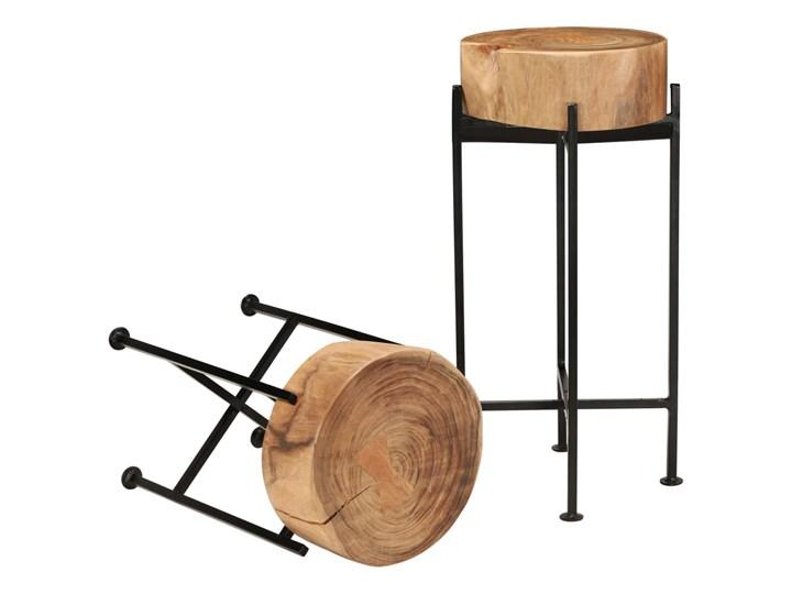 vidaXL Zestaw stolików bocznych, 2 szt., lite drewno akacjowe Wysokość 60 cm Wysokość 45 cm Stal Kolor Beżowy