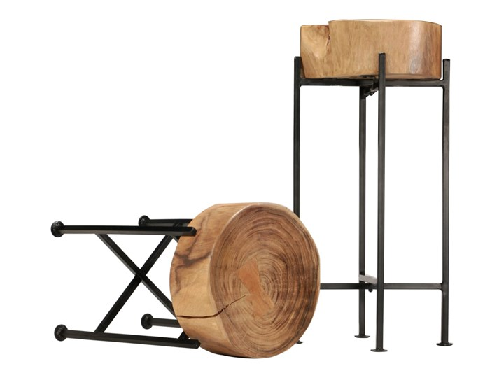 vidaXL Zestaw stolików bocznych, 2 szt., lite drewno akacjowe Kategoria Stoliki i ławy Wysokość 60 cm Stal Wysokość 45 cm Rodzaj nóg Proste