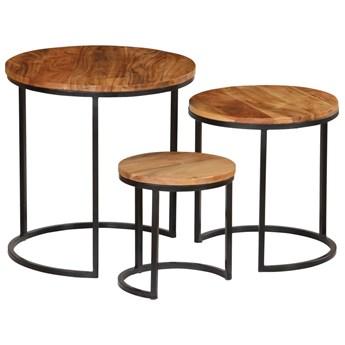 vidaXL Zestaw 3 stolików kawowych, akacja stylizowana na sheesham