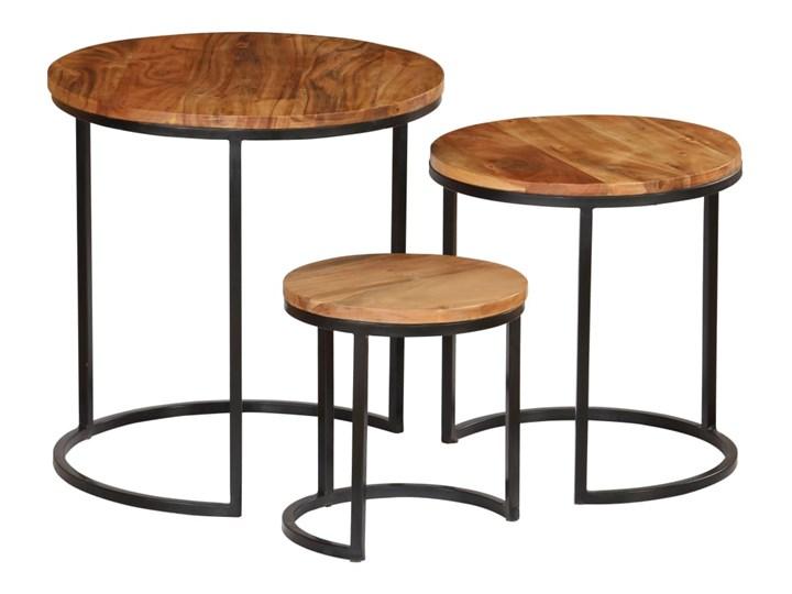 vidaXL Zestaw 3 stolików kawowych, akacja stylizowana na sheesham Stal Wysokość 41 cm Styl Industrialny Wysokość 52 cm Drewno Wysokość 31 cm Zestaw stolików Rodzaj nóg Gięte