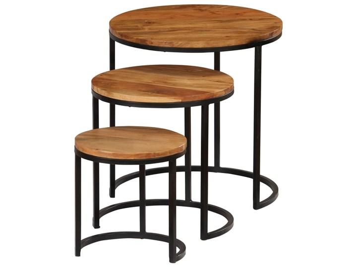 vidaXL Zestaw 3 stolików kawowych, akacja stylizowana na sheesham Wysokość 41 cm Zestaw stolików Drewno Stal Wysokość 31 cm Wysokość 52 cm Rodzaj nóg Gięte