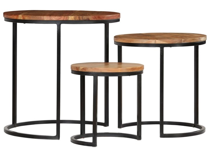 vidaXL Zestaw 3 stolików kawowych, akacja stylizowana na sheesham Stal Wysokość 31 cm Drewno Wysokość 41 cm Kolor Brązowy Zestaw stolików Wysokość 52 cm Rodzaj nóg Gięte