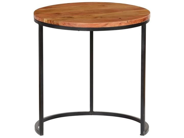 vidaXL Zestaw 3 stolików kawowych, akacja stylizowana na sheesham Wysokość 41 cm Wysokość 52 cm Drewno Zestaw stolików Wysokość 31 cm Stal Kolor Brązowy