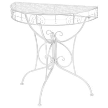 vidaXL Półokrągły stolik vintage, metalowy, 72 x 36 x 74 cm, srebrny