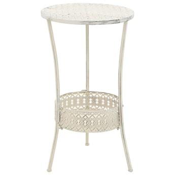 vidaXL Okrągły stolik bistro, styl vintage, metalowy, 40x70 cm, biały