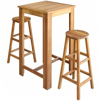 vidaXL Stolik i stołki barowe, 3 elementy, lite drewno akacjowe