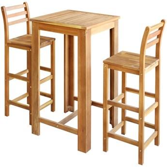 vidaXL Stolik i krzesła barowe, 3 elementy, lite drewno akacjowe