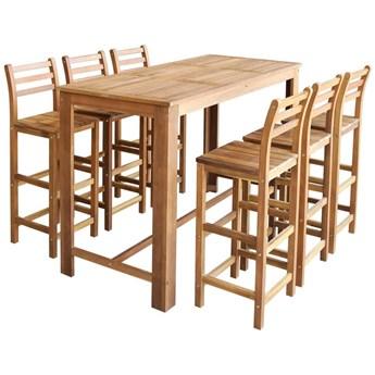 vidaXL Stolik i krzesła barowe, 7 elementów, lite drewno akacjowe