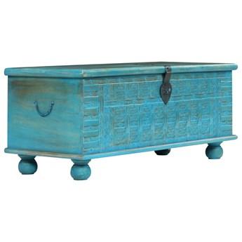 vidaXL Skrzynia z litego drewna mango, niebieska, 100 x 40 x 41 cm