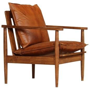vidaXL Fotel, brązowy, skóra naturalna i drewno akacjowe