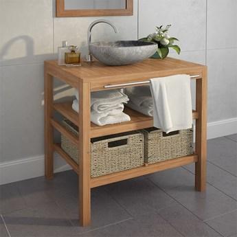 vidaXL Szafka łazienkowa pod umywalkę z 2 koszami, drewno tekowe