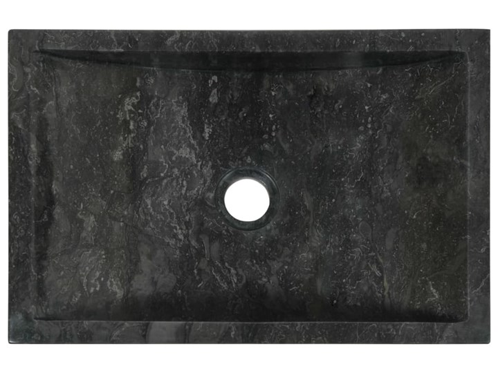 vidaXL Umywalka, 45 x 30 x 12 cm, marmurowa, czarna Szerokość 45 cm Kolor Czarny Kamień naturalny Kategoria Umywalki