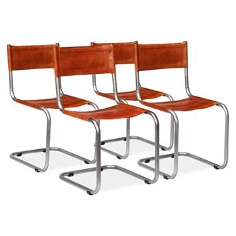 vidaXL Krzesła stołowe, 4 szt. brązowe, skóra naturalna