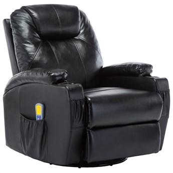 vidaXL Bujany fotel do masażu, czarny, sztuczna skóra