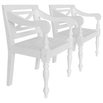 vidaXL Krzesła Batavia, 2 szt., białe, lite drewno mahoniowe