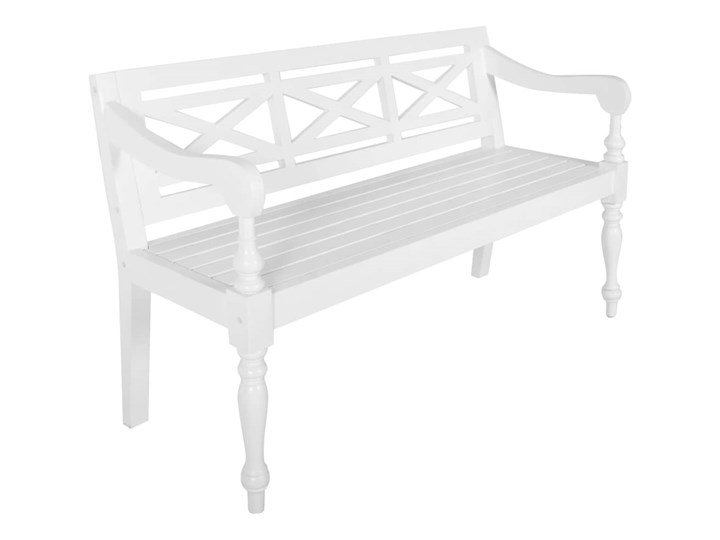 vidaXL Ławka Batavia, 136 cm, lite drewno mahoniowe, biała