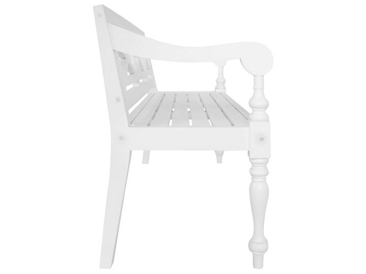 vidaXL Ławka Batavia, 136 cm, lite drewno mahoniowe, biała Z oparciem Kolor Biały