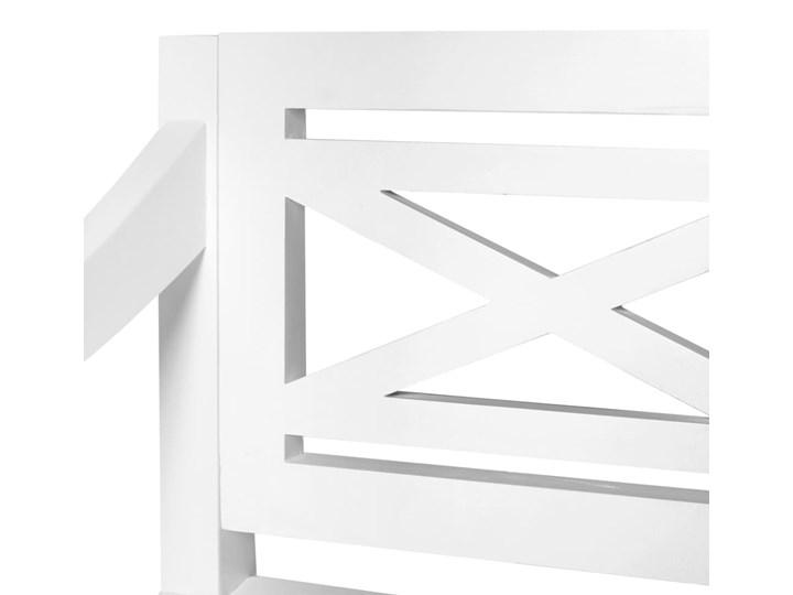 vidaXL Ławka Batavia, 136 cm, lite drewno mahoniowe, biała Kategoria Ławki ogrodowe Z oparciem Kolor Biały