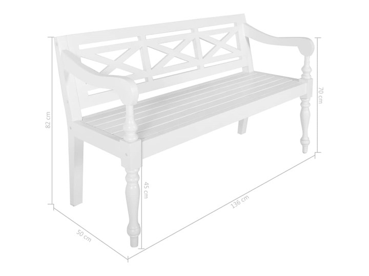 vidaXL Ławka Batavia, 136 cm, lite drewno mahoniowe, biała Z oparciem Kolor Biały Kategoria Ławki ogrodowe