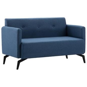 vidaXL 2-osobowa sofa tapicerowana tkaniną, 115x60x67 cm, niebieska