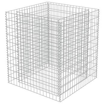 vidaXL Podwyższona donica gabionowa, galwanizowana stal, 90x90x100 cm