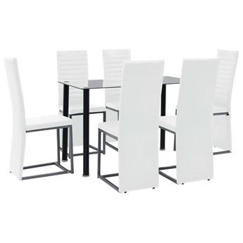 vidaXL Meble do jadalni, 7 części, stal, szkło hartowane, czarno-białe