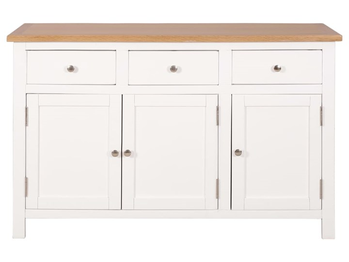 vidaXL Szafka, 110 x 33,5 x 70 cm, lite drewno dębowe Ilość szuflad 3-szuflady Metal Styl Rustykalny