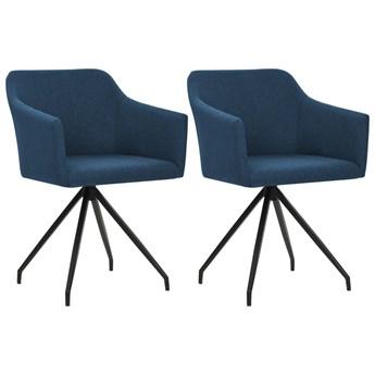 vidaXL Obrotowe krzesła stołowe, 2 szt., niebieskie, tkanina
