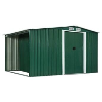 vidaXL Szopa z drzwiami przesuwnymi, zielona, stal, 329,5x131x178 cm