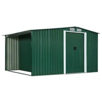vidaXL Szopa z drzwiami przesuwnymi, zielona, 329,5x205x178 cm, stal