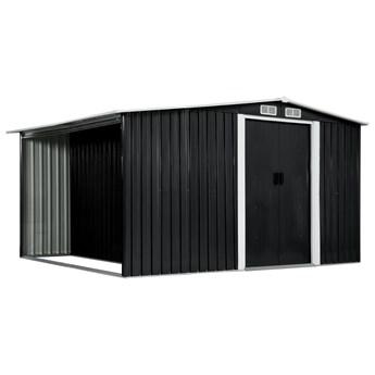 vidaXL Szopa z drzwiami przesuwnymi, antracyt, stal, 329,5x259x178 cm
