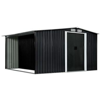 vidaXL Szopa z drzwiami przesuwnymi, antracyt, stal, 329,5x312x178 cm