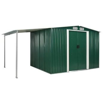 vidaXL Szopa ogrodowa z drzwiami przesuwnymi, zielona, 386x205x178 cm