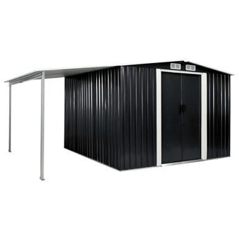 vidaXL Szopa ogrodowa z drzwiami przesuwnymi, antracyt, 386x259x178 cm