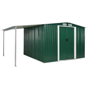 vidaXL Szopa ogrodowa z drzwiami przesuwnymi, zielona, 386x259x178 cm