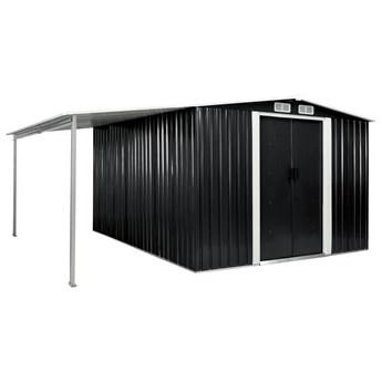 vidaXL Szopa ogrodowa z drzwiami przesuwnymi, antracyt, 386x312x178 cm