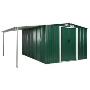 vidaXL Szopa ogrodowa z drzwiami przesuwnymi, zielona, 386x312x178 cm