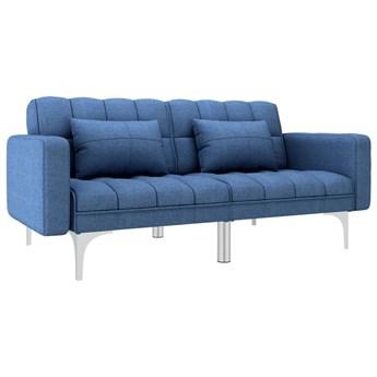vidaXL Sofa rozkładana, niebieska, tapicerowana tkaniną