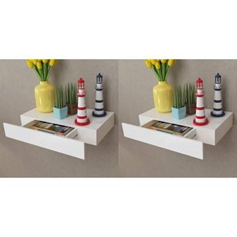 vidaXL Półki wiszące z szufladami, 2 szt., białe, 48 cm