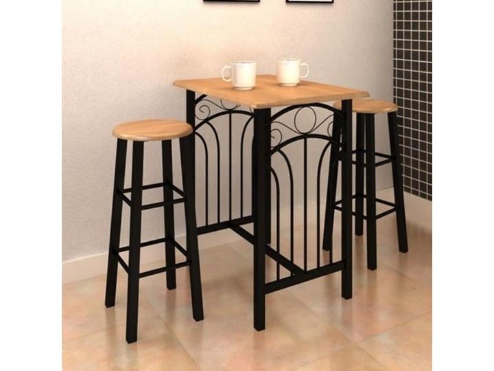 vidaXL Stolik śniadaniowy z taboretami, jasnobrązowe drewno i czarna stal Kategoria Stoły z krzesłami